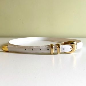 Vintage 1980's White Leather Gold Clasp Belt